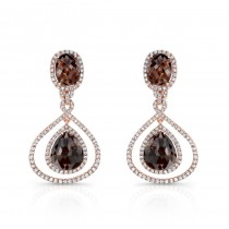 14k Rose Gold Rose-Cut Brown Diamond and White Diamond Earrings