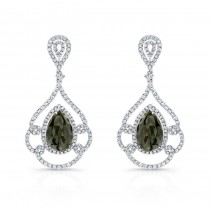 14k White Gold Rose-Cut Black and White Diamond Earrings