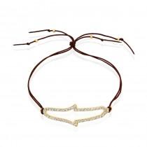 14k Yellow Gold Diamond Hamsa Leather Bracelet