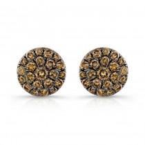14k Rose and Black Gold Brown Diamond Circle Stud Earrings