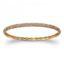18K Rose Gold Brown Diamond Bangle Bracelet