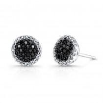 14k White and Black Gold White Diamond Halo Black Diamond Center Stud Earrings
