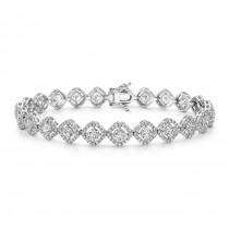 18K White Gold White Diamond Cushion Halo Tennis Bracelet