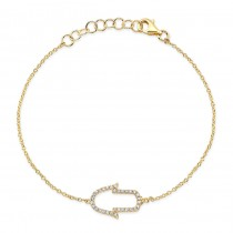 14k Yellow Gold White Diamond Hamsa Silhouette Bracelet