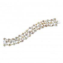 18k White and Yellow Mixed Shape Fancy Color Diamond Bracelet