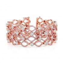 18K Rose Gold Bezel Set White Diamond Pink Diamond Accent Bracelet