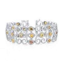 18K White Gold Mixed Fancy Color Diamond Accent White Diamond Spiral Bracelet