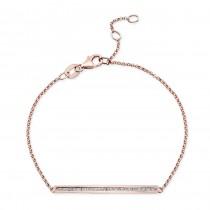 14k Rose Gold Channel Set White Diamond Bracelet