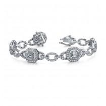 18k White Gold Emerald Diamond Mosaic Bracelet
