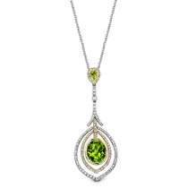 14k White and Yellow Gold Peridot Diamond Halo  Drop Necklace NK19511P-WY
