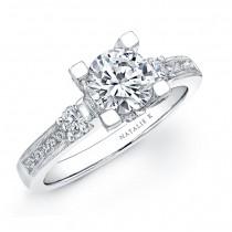 14k White Gold Three Stone Diamond Engagement Semi Mount Ring NK15157ENG-W