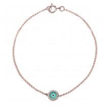 14k Rose Gold Diamond Light Blue Enamel Evil Eye Chain Bracelet