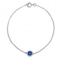 14k White Gold Diamond Dark Blue Enamel Evil Eye Chain Bracelet