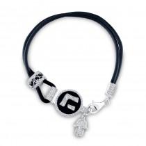 14k White Gold Diamond Hebrew Letter Hand of God Leather Bracelet