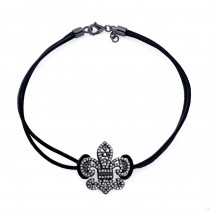 14k Black Gold Diamond Fleur De Lys Bracelet