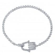 14k White Gold Diamond Hamsa Tennis Bracelet