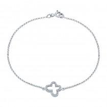 14k White Gold Pave Diamond Butterfly Bracelet