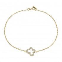 14k Yellow Gold Pave Diamond Butterfly Bracelet