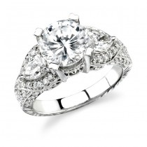 14k White Gold Diamond Engagement Ring with Pear Shaped Side Stones NK10032-W