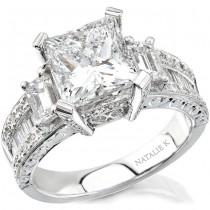 18k White Gold Three Stone Emerald Cut Diamond Semi Engagement Ring NK10139-W