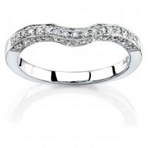 14k White Gold Pear Shaped Three Stone Diamond Wedding Band NK11513WED-W