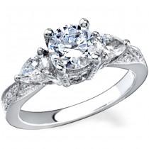 14k White Gold Three Stone Pave Prong Diamond Semi Mount - NK11870-W
