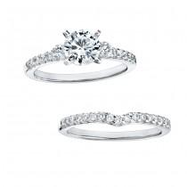 14k White Gold Three Stone Diamond Bridal Ring Set NK15065WE-W