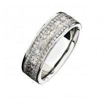 14k White Gold Hand Engraved Diamond Men's Band - NK15384-W