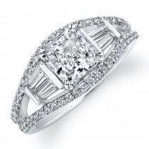 14k White Gold Baguette Diamond Engagement Semi Mount Ring NK16520-W