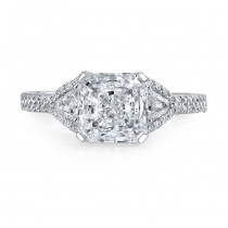 14k White Gold Pave Set Three Stone Diamond Engagement Ring NK16885-W