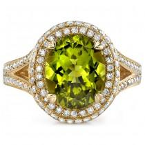 14k Yellow Gold Peridot Diamond Split Shank Ring NK17135P-Y