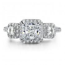 14k White Gold Three Stone Prong Asscher Cut Diamond Engagement Ring NK17155-W
