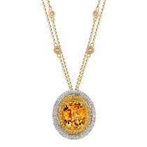 14k White Gold Diamond Double Halo Citrine Pendant NK17635CT-WY