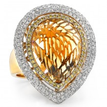 14k Yellow Gold Pear Shaped Citrine and Diamond Cocktail Ring NK17718CT-Y