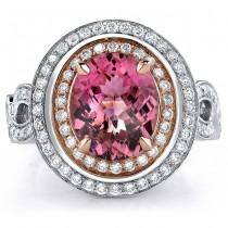 14k White and Rose Gold Pink Tourmaline Diamond Ring - NK17968PNKT-WR