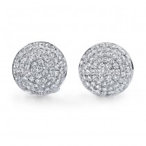18k White Gold Pave Cluster Diamond Earrings - NK18523W