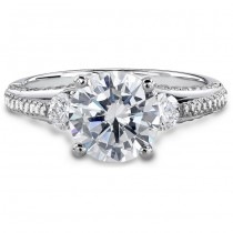 18k White Gold Classic Three Stone Diamond Engagement Semi Mount Ring NK18729-W
