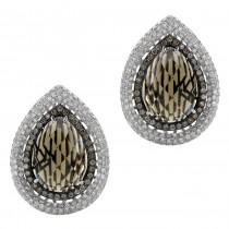 14k White Gold Smokey Quartz Brown Diamond Earrings NK18974SQ-W