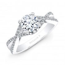 18k White Gold Twisted Split Shank Diamond Engagement Semi Mount Ring - NK19582ENG-W
