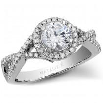 14k White Gold Twisted Split Shank Halo Diamond Engagement Semi Mount Ring - NK19626ENG-W