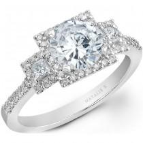14k White Gold Three Stone Princess Cut Halo Diamond Engagement Semi Mount NK20506ENG-W