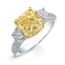 18k White and Yellow Gold Cushion Fancy Yellow Diamond Engagement Ring