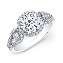 18k White Gold White Diamond Halo Engagement Ring with Pear Shaped Side Stones