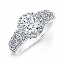 18k White Gold Pave Channel White Diamond Halo Engagement Ring