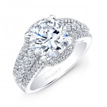 14k White Gold Halo Inspired Pave and Prong Diamond Engagement Ring NK25875