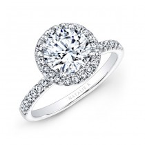 18k White Gold Prong Set Halo White Diamond Engagement Ring