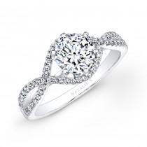 18k White Gold Twisted Shank Diamond Engagement Ring