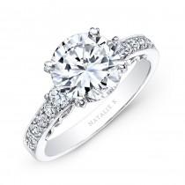 14k White Gold Channel Bezel Prong White Diamond Engagement Ring