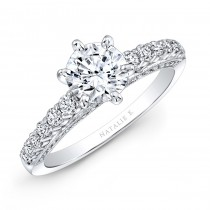 18k White Gold Six Prong Center Mounting Diamond Gallery Engagement Ring