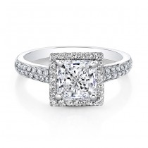18k White Gold Square Diamond Princess Cut Engagement Ring